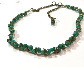 Summer!  Chrysoprase and brass ruffle, floral bud blooming vine, necklace
