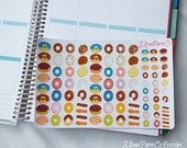 95 Donut Stickers, Doughnut Stickers, Food Stickers, Dessert Stickers, Planner Stickers, Small Stickers, Fun, Colorful