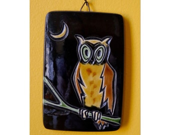 Hand Painted Owl Tile Plaque Made in Israel