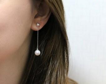 Pearl Drop Earring, Simple Pearl Earring, Pearl Chain Earring, Long pearl earring, Pearl dangle earring, Sterling silver pearl earring