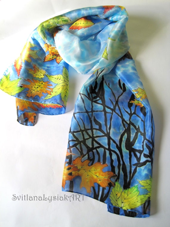 painted silk scarf blue silk painting unique handmade