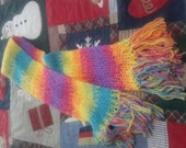 Rainbow Colored Double-Knit Scarf
