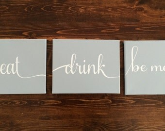 Eat, Drink, Be Merry Canvas, Grey and White