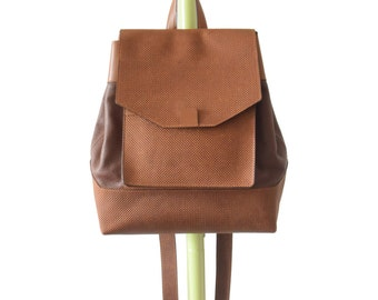 Artisan Backpack Honey and Chocolate genuine leather