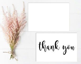 Printable - Black and white Thank you One Sided Notecard Card