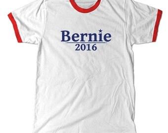 Bernie 2016 Ringer T-Shirt. Bernie Sanders for president 2016 Red Ringer Tee Shirt