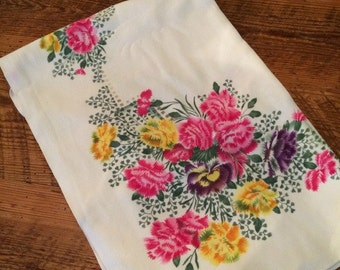 Vintage Pink floral Mid Century Tablecloth