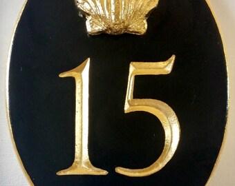 Address Sign, 23k Gold Leaf Sign, Gold Leaf Seashell, Carved Letters