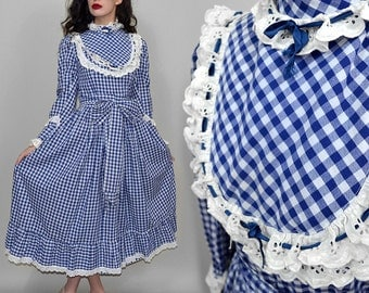 Vintage Gingham VICTORIAN Maid Prairie Dress Lace Frill Gown Edwardian Circle S