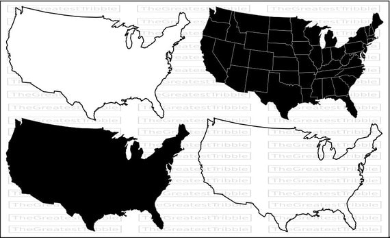 US States Map Svg Png Jpg Vector Graphic Clip Art Silhouette