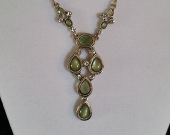 Vintage Silver Tone Necklace with Green Faux Gems and Rhinestones