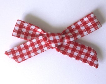 Baby Headband Simply Tied Fabric Bow. Infant Bow Headband. Toddler Bow Headband or Clip. Girls Bow Headband or Clip. Red Check Fabric Bow.