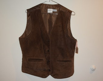 Brown Leather Front Vest