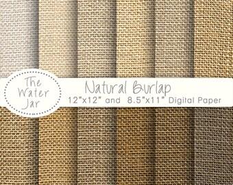 Burlap Digital Paper Pack, Printable Burlap/Hessian/Jute Paper, Burlap Texture, Natural Hessian Textures, Digital Burlap Fabric