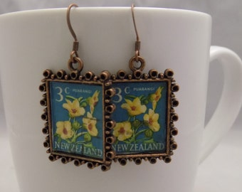 New Zealand Postage Stamp Earrings