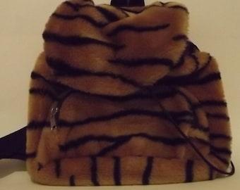 40% OFF!!! Fur Tiger Print Backpack