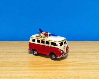 Vintage red vw van miniature,with surfboard and life vest on its roof,toy vw van,dollhouse miniature,metal van,beach,retro collection