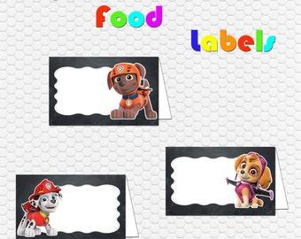 8 Paw Patrol Food Labels / Instant Digital Downloads