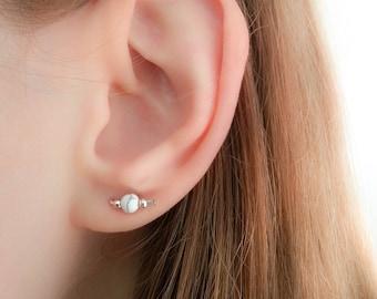 SALE - White Marble earrings-Howlite Earrings-Howlite Stud Earrings-Marble Stud Earrings-White Howlite Earrings-Marble Studs-Howlite Studs