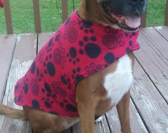 Red Paw Print Dog Jacket