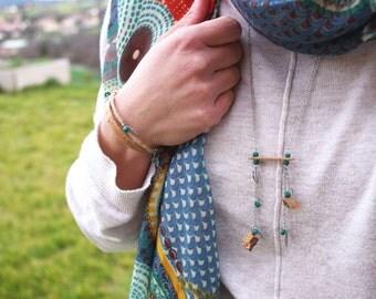 Saltire in Cork/necklace long woman/jewel spirit Bohemian/Gypsy/jewel style asymmetrical / Bohemian/Cork/cork/jewel vegan chips necklace