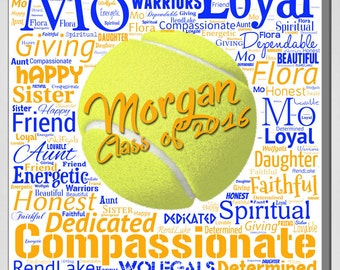 Personalized Tennis Word / Text Wall Decor Print (Canvas or Metal)