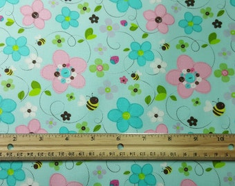 Cute Bumble Bee Fabric, Fat Quarter Only, FQ, Nursery Print, Baby Print, Bees with Flowers, Button Flowers, Quilting Fabric, Pink and Blue