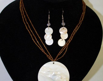 Beaded Shell Necklace and Earring Set