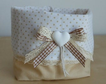 Fabric basket made by hand and decorated with checkered ribbon, beige lace and heart plaster handmade