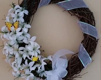 White Lily Grapevine Wreath