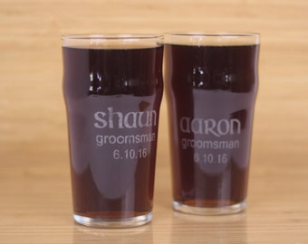 Groomsmen Glasses, Personalized Groomsmen Gifts, Beer Glasses, Etched, Pint Glasses, Ale Glasses, 'Shaun' Style