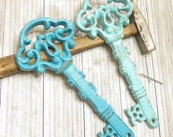 Antique Skeleton Key - Large Key Wall Decor  - Home Decor - Antique Keys - Shabby Chic Wall Decor - Blue Home Decor - Key Wall Hanging