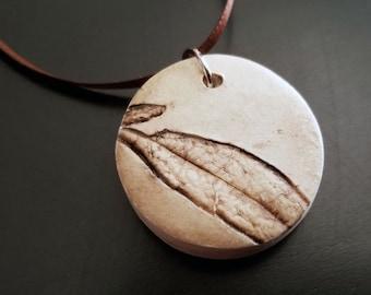 Brown Eucalyptus Leaf, Handmade Polymer Clay Pendant