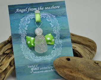 Genuine Seaglass Angel Ornament, Sea Glass, Seaglass Angel, Angel Ornament, Seaglass Ornament, teacher gift, baby shower favors