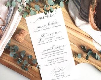 handmade modern calligraphy menu | wedding menu | event menu | custom calligraphy