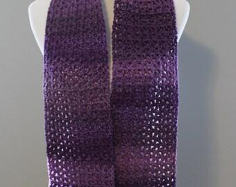 Shades of Purple Crochet Scarf
