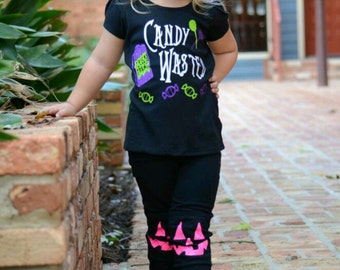 Girl Halloween shirt, Funny Halloween Shirt, Toddler Girl Halloween Outfit, Glow In the Dark Shirt, Trick or Treating Shirt, Fall Toddler