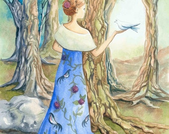 Enchanting watercolor of girl in beautiful dress in forest with bird