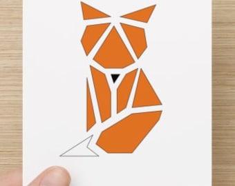 Postcard - Fox - illustrated postcard - animal illustration - origami - decorative map