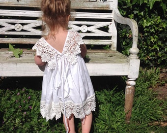 LouLou Flower Girl Dress - Flower Girl, Holy Communion, Special Occasion Dress, Cotton Lace