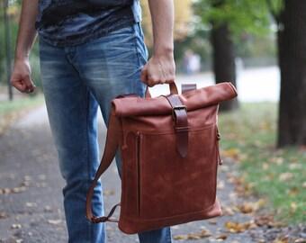Leather backpack men | Etsy