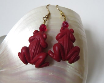 "Earrings ""French frogs "" cinnabar red frogs"