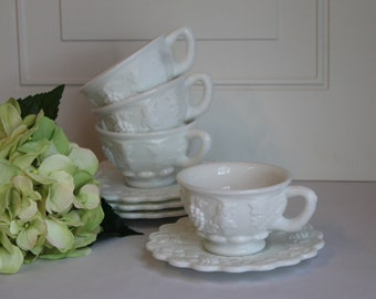 Westmoreland Paneled Grape Tea Cup, Vintage Milk Glass Tea Cup And Saucer, Milk Glass Coffee Cup and Saucer