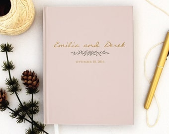 Wedding Guest Book Personalized Blush Guest Books Custom Guestbook Romantic Fall Wedding Gold Script Wedding - Blush