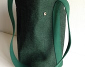 "Simple cross body cotton canvas bucket bag in emerald with rust lining / modern and minimal / made in nyc - ""Bonnie"""