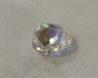 Swarovski Flat Briolette Bead in Crystal AB - 11x10 mm - Limited Quantity Available