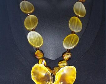 Handmade, Hand beaded, Hand Strung Yellow