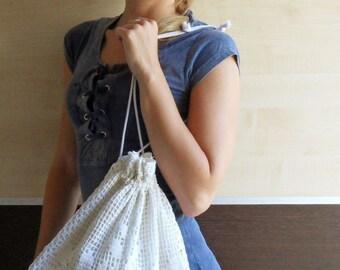 Drawstring tote bag,Handmade bag ,Linen Lace drawstring tote, Handmade Women Everyday Purse ,Dance bag, Workout bag