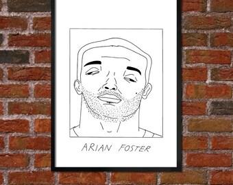 Badly Drawn Arian Foster - Houston Texansposter / print / artwork / wall art