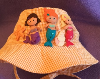 Child's Orange Seersucker Bucket Hat with Hand Embroidered Mermaids